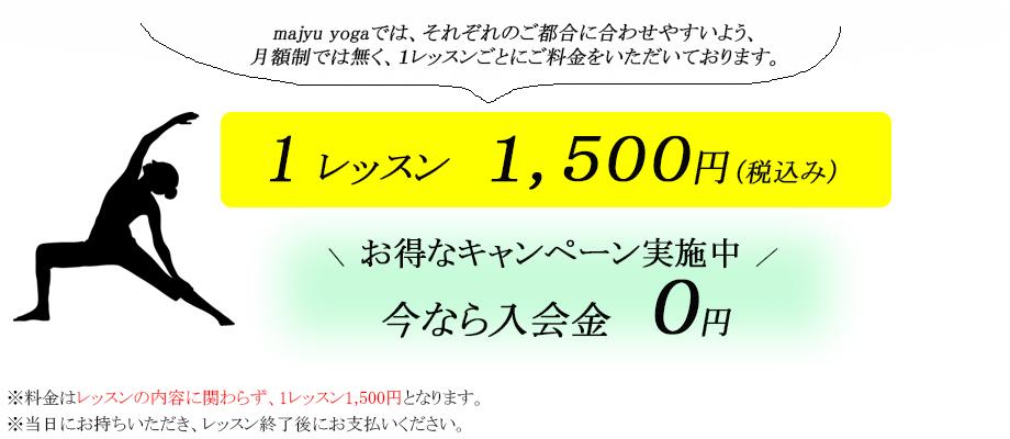 レッスン料金1レッスン、1500円